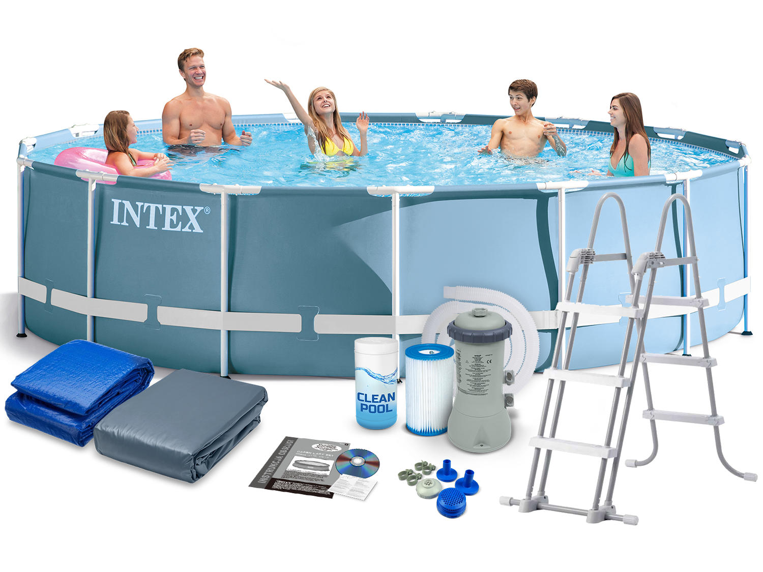 28734 intex 15 39 x 42 prism frame pool with water filter pump a type - Intex prism frame ...